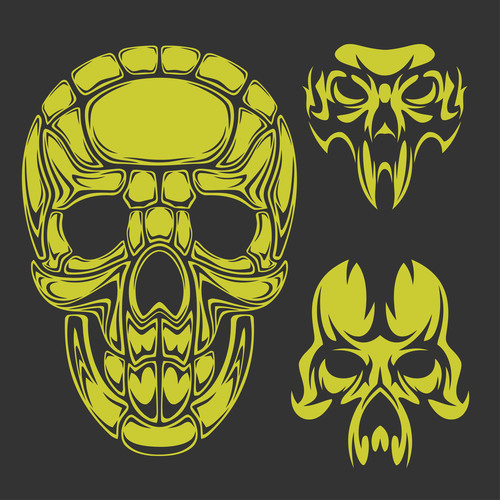 Green skull head pattern for tattoos with t shirt vector 02