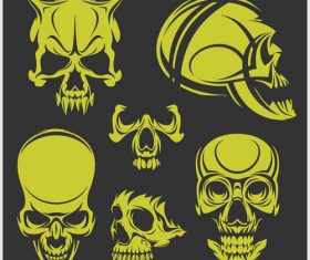 Green skull head pattern for tattoos with t-shirt vector 03