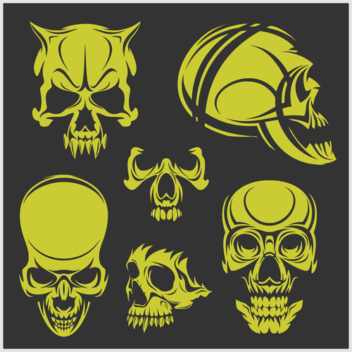 Green skull head pattern for tattoos with t shirt vector 03