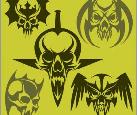 Green skull head pattern for tattoos with t-shirt vector 04