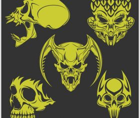 Green skull head pattern for tattoos with t-shirt vector 05