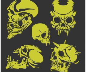 Green skull head pattern for tattoos with t-shirt vector 06