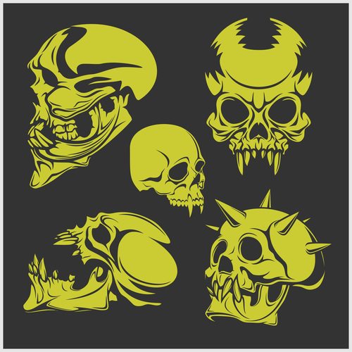 Green skull head pattern for tattoos with t shirt vector 06