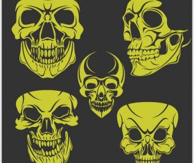 Green skull head pattern for tattoos with t-shirt vector 07