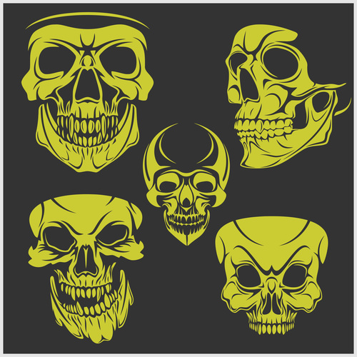 Green skull head pattern for tattoos with t shirt vector 07