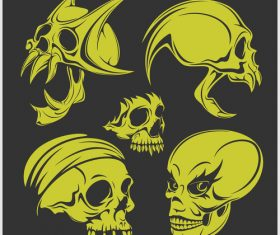 Green skull head pattern for tattoos with t-shirt vector 08