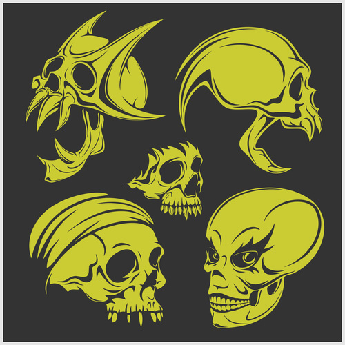 Green skull head pattern for tattoos with t shirt vector 08