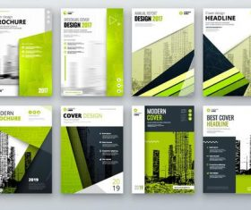 Green styles modern brochure cover vector