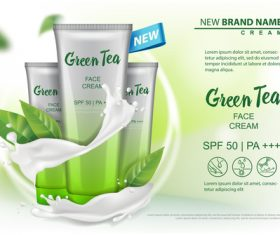 Green tea face cream advertising template vector 04