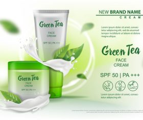 Green tea face cream advertising template vector 05