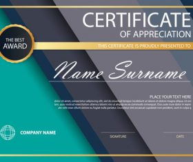 Green with black styles certificate template design vectors
