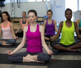 Gym woman meditation Stock Photo