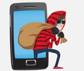 Hacker step with smart phone vector 01