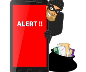 Hacker step with smart phone vector 02