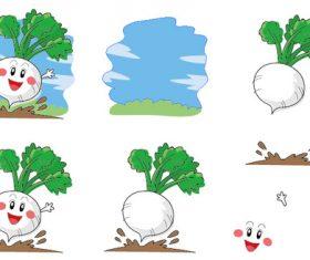 Hand drawn cartoon white radish vector