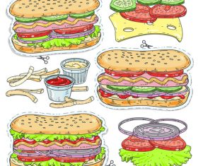 Hand drawn fast food design vector material