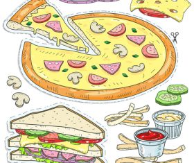 Hand drawn pizzaa design vector material