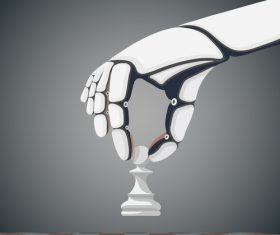 Hand with figure chess vector