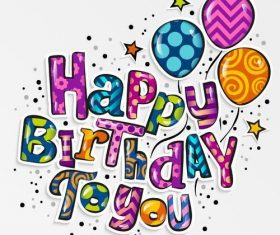 Happy birthday text design vectors
