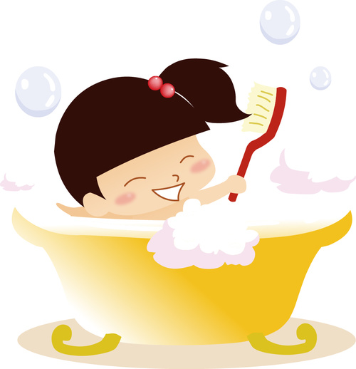 Happy Little Girl Taking Shower Vector Free Download-4959