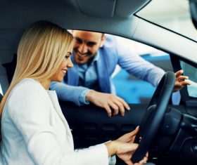 Happy woman buying new car Stock Photo 04