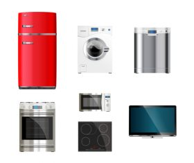 Household appliances illustration vector 01