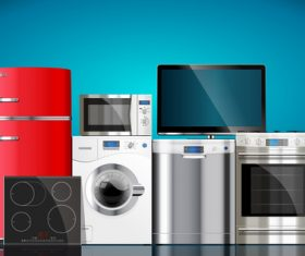 Household appliances illustration vector 02