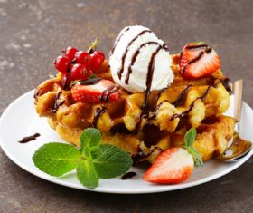 Ice cream fruit dessert Stock Photo 01