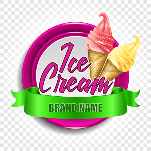 Ice cream label with green ribbon vector
