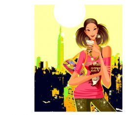 Illustration of girl drinking drink on city background vector