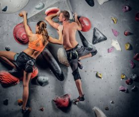 Indoor climbing for men and women Stock Photo