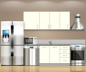 Kitchen flat effect vector 01