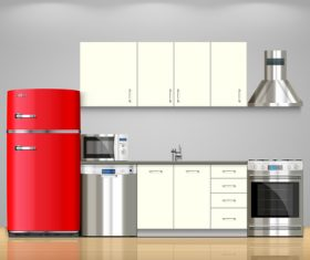 Kitchen flat effect vector 02
