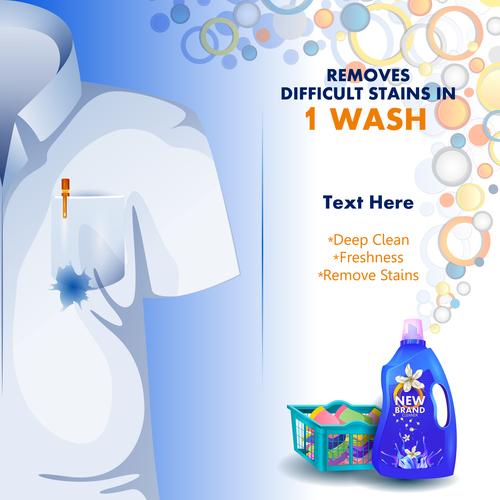 Laundry liquid poster template vector 01