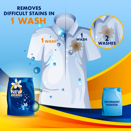 Laundry liquid poster template vector 03