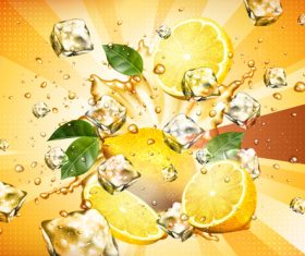Lemon juice with ice vector material