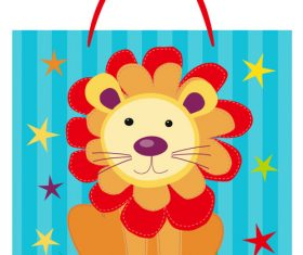 Lion grass tote vector