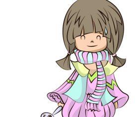 Little girl holding toy rabbit vector