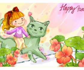 Little girl riding cat vector