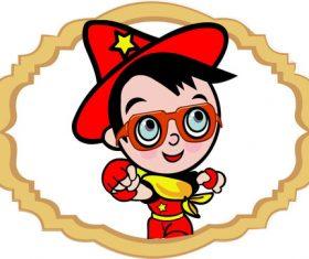 Little superman wearing glasses vector