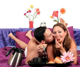 Loving couple have breakfast Stock Photo