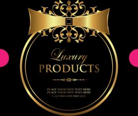 Luxury gold framed label vector