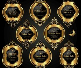 Luxury ornamental gold labels vector