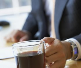 Man drinking espresso Stock Photo