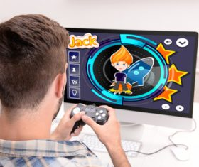 Man uses game handle to play games Stock Photo 03