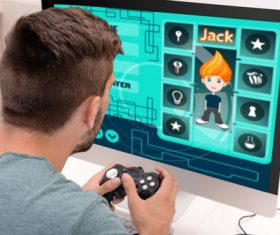 Man uses game handle to play games Stock Photo 04