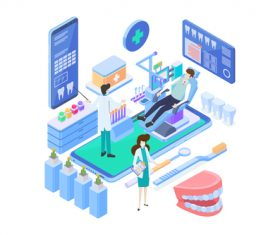 Medical Isometric flat template vector 01