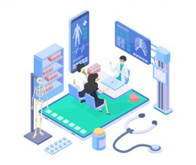 Medical Isometric flat template vector 02