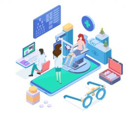 Medical Isometric flat template vector 04
