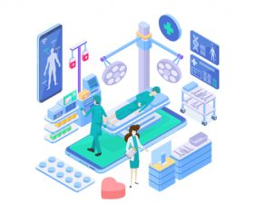 Medical Isometric flat template vector 05